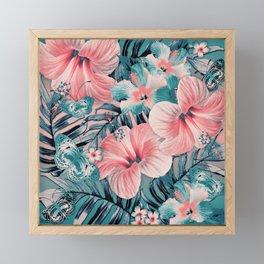 Vintage Jade Coral Aloha Framed Mini Art Print
