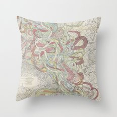 Beautiful Map of the Lower Mississippi River Throw Pillow