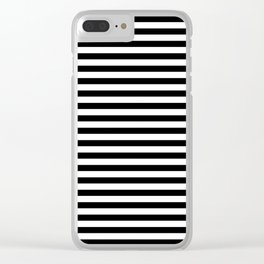 Midnight Black and White Horizontal Deck Chair Stripes Clear iPhone Case