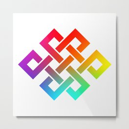 Eternity knot in rainbow colors Metal Print