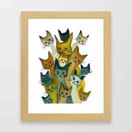 Kalamazoo Whimsical Cats Framed Art Print