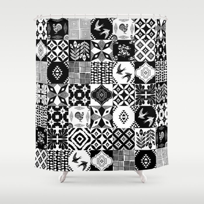 Linocut Tiles Patchwork Quilt Pattern Black And White Decor Shower Curtain