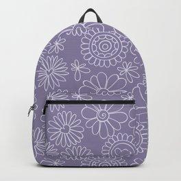 Violet doodle floral pattern Backpack