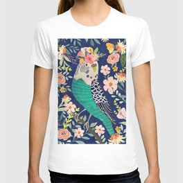 Parakeet with Floral Crown T-shirt