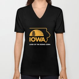 Iowa: Land of the Rising Corn - Black and Gold Edition Unisex V-Neck