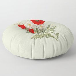 A country garden flower bouquet -poppies and daisies Floor Pillow
