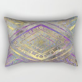 Tribal  Ethnic Boho Pattern gold and gentle purples Rectangular Pillow