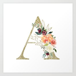 """Letter """"A"""" Monogram, Gold Leaf and Watercolor Flowers Art Print"""