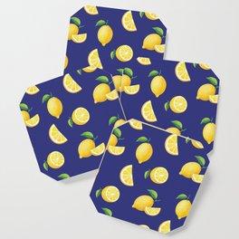 Lemons on Navy Coaster