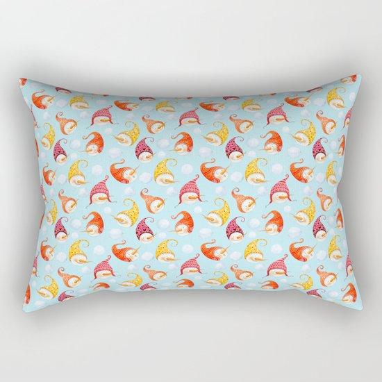 Merry christmas- happy wintertime! Beautiful little snowman pattern Rectangular Pillow