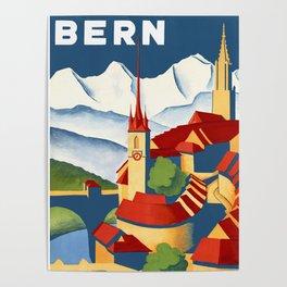 Vintage Bern Switzerland Travel Poster