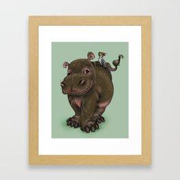 Hippo and Bird Friend Framed Art Print