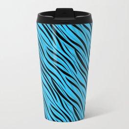 Abstract Black-blue textile Travel Mug