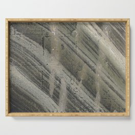 Gray striped abstract painting Serving Tray