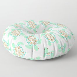 Sea turtle green pink and metallic accents Floor Pillow