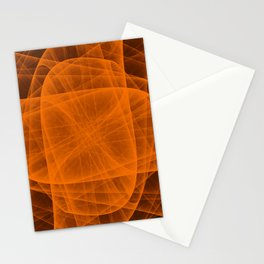 Fractal Eternal Rounded Cross in Orange-Brown Stationery Cards