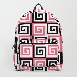 Geometric Pattern 124 (pink Greek spiral) Backpack