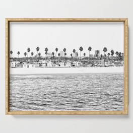 Vintage Newport Beach Print {4 of 4} | Photography Ocean Palm Trees B&W Tropical Summer Sky Serving Tray