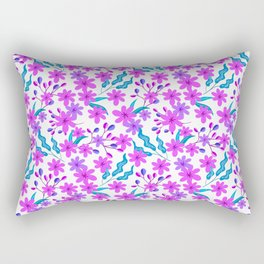 Beautiful girly pretty pink flowers, delicate green leaves, little branches pink floral pattern Rectangular Pillow