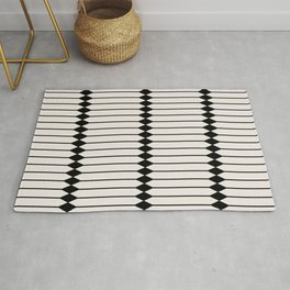 Minimal Geometric Pattern - Black and White Rug