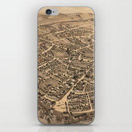 Vintage Pictorial Map of New London CT (1876) iPhone Skin