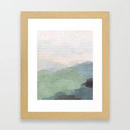 Seafoam Green Mint Black Blush Pink III Abstract Nature Land Art Painting Art Framed Art Print