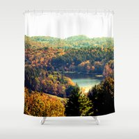trout Shower Curtains featuring Trout Lake by Lindsay Isenhour