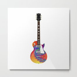 Guitar With Fractal Graphics Metal Print