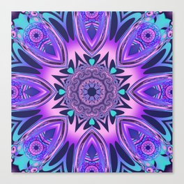 The floral kaleidoscope in pink, purple, blue and turquoise Canvas Print