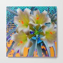 EASTER LILIES FLOWER  BLUE-GOLD FLORAL Metal Print