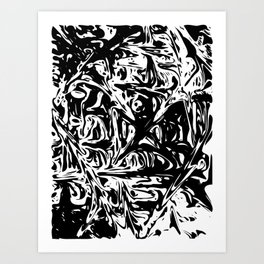 Black And White Dynamic Abstraction Art Print