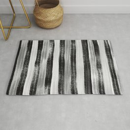 Black White and Grey Monochrome Pastel Stripes Abstract Pattern Rug