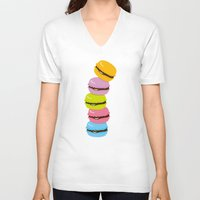macaron V-neck T-shirts featuring macaron by taichi_k