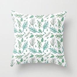 Baesic Watercolor Leaves Throw Pillow