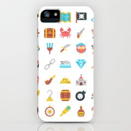 CUTE PIRATES PATTERN (PIRATE SHIP CHARACTERS) iPhone Case