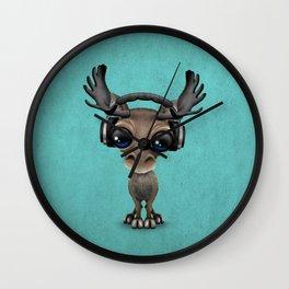 Cute Musical Moose Dj Wearing Headphones Blue Wall Clock