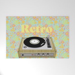 Retro Vibes Record Player Design in Yellow Welcome Mat