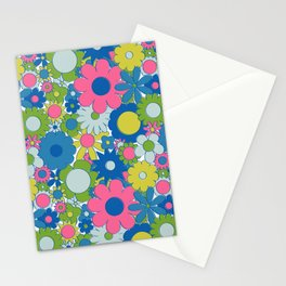 Funky Daisy Floral in Neon Stationery Cards
