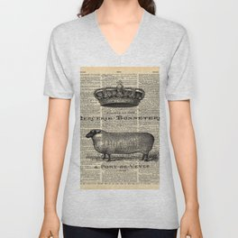 french dictionary print jubilee crown western country farm animal sheep Unisex V-Neck