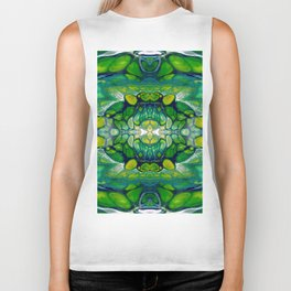 Bright Green Abstract Design Art Biker Tank