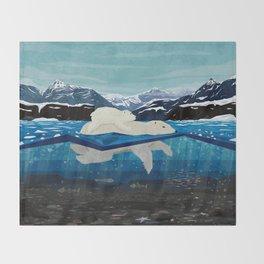 Polar bear mom and Cub Swimming  Throw Blanket