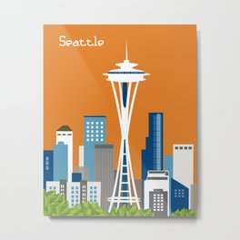 Seattle, Washington - Skyline Illustration by Loose Petals Metal Print