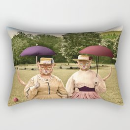 Two Pretty Kitties: Out for a Stroll Rectangular Pillow
