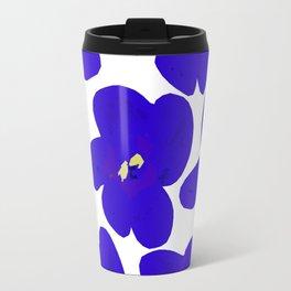 Blue Retro Flowers Travel Mug