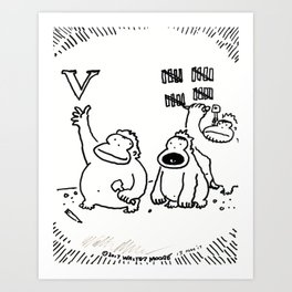 Ape Disrupts Accepted Stone-Carving Practices Art Print