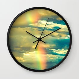 Rainbow Blue Sky Clouds Wall Clock