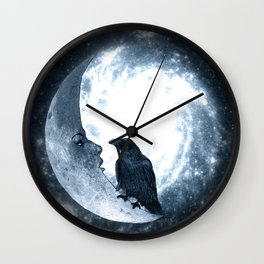 The crow and its Moon. (bcn art version) Wall Clock