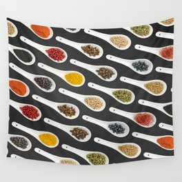 Spice Spoons on chalkboard 2 Wall Tapestry