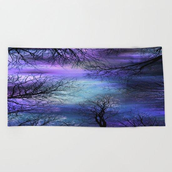 Black Trees Purple Blue Abstract Sky Beach Towel
