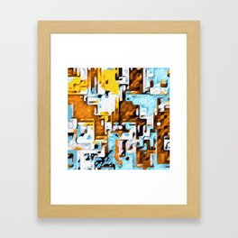 yellow brown and blue Framed Art Print